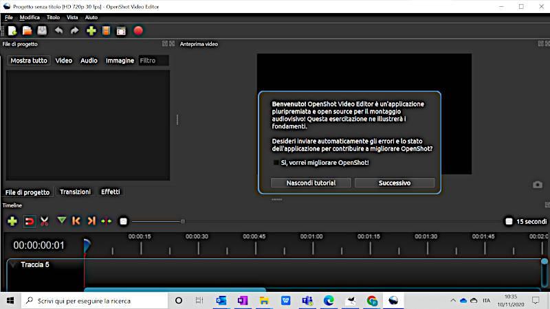Schermata iniziale OpenShot