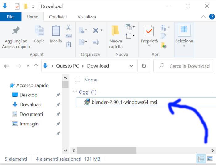 Esplora file Blender